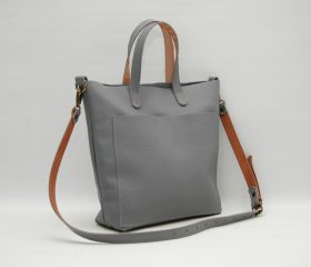 Leather tote bag, medium size ,lazy grey color