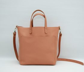 Leather tote bag, medium size ,salmone color