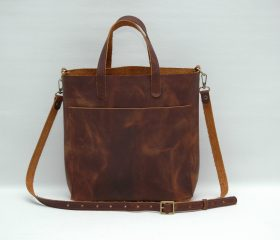 Leather tote bag, brandy color