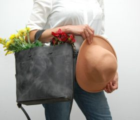 Leather tote bag, charcoal color