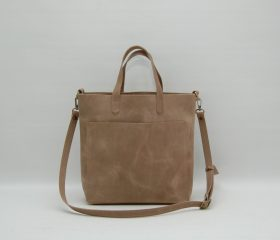 Leather tote bag,taupe color