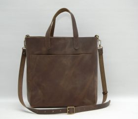 Leather tote bag,brown squirrel distressed color