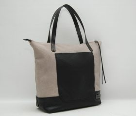 waxed canvas bag with leather handles and closures,light grey color