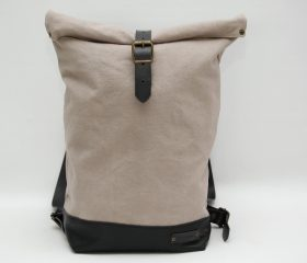 Waxed canvas backpack,light grey color ,hand waxed