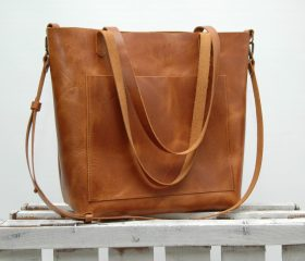 Leather tote bag, large  size ,london tan color