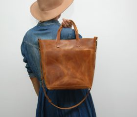 Leather tote bag, medium size ,london tan color