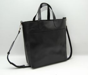Leather tote bag, medium size ,black color