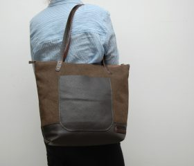waxed canvas bag with leather handles and closures,khahy color