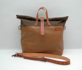 Weekender bag, waxed canvas with leather handles and closures,khaky /tan leather color