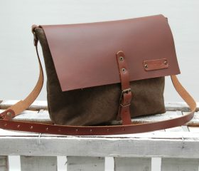 Waxed canvas messenger  bag ,khaky color