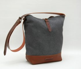Messenger  bag waxed canvas,charcoal color