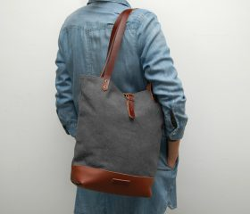 Tote bag waxed canvas, charcoal color