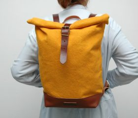 Waxed canvas backpack,yellow