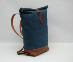 Waxed canvas backpack,Baltic blue