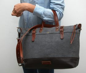ZIP–waxed canvas bag,Shopper Bag,charcoal color