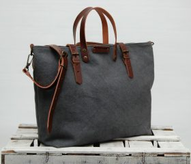 Waxed Canvas bag,Shopper Bag,charcoal color