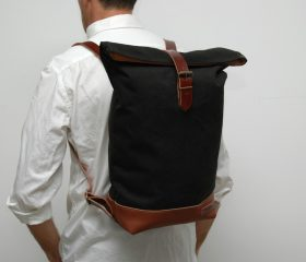 Waxed canvas backpack,Black Color 14oz