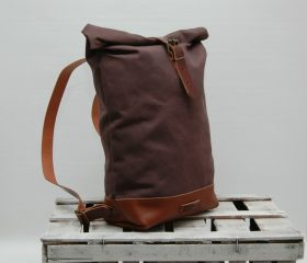 Waxed canvas backpack,chocolatte 14oz
