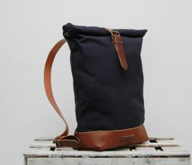 Waxed canvas backpack,Navy Blue 14oz