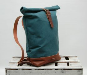 Waxed canvas backpack,Baltic Blue 14oz