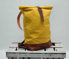 Waxed canvas backpack,yellow 14oz