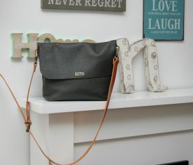 leather crossbody charcoal color