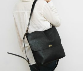 leather crossbody bag black color