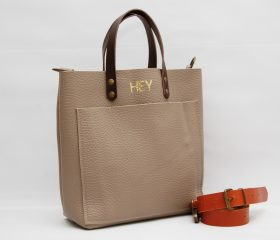 Leather tote Bag  taupe color