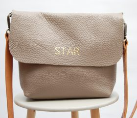 leather crossbody taupe color