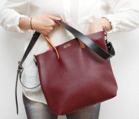 Leather tote Bag burgundy color