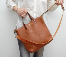 Leather tote Bag  tan color
